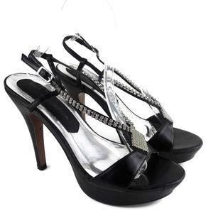 Lasonia Black and Rhinestone Formal Sandals